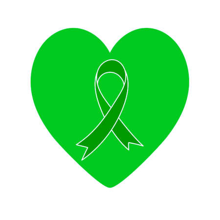 Green ribbon and green heart. symbol isolated on white. Problems of cerebral palsy, mental health, organ donation, kidney cancer