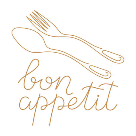 Bon appetit, a handwritten phrase. Vector illustration, calligraphy. Fork and spoon contours. Hand drawn single line vector illustration on white background. The topic of food.