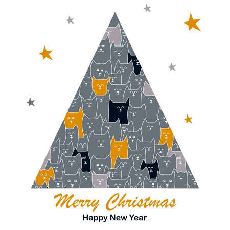 Christmas tree with images of cute cats. Design for new year greeting card, posters, invitations vector illustration, for animal lovers, pet stores, veterinary clinics