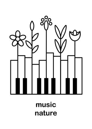 Music festival poster, vector concept. Layout with piano keys and colors. Nature and music. Space for text. Black and white vertical illustration.