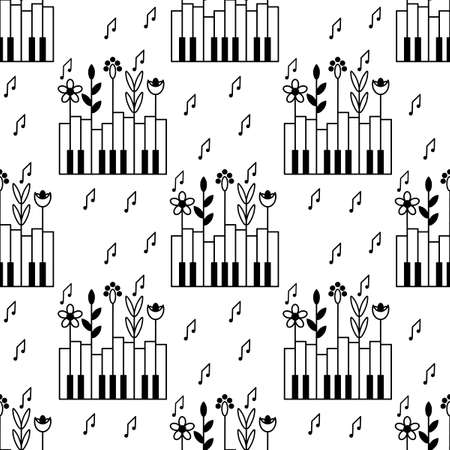 Seamless pattern with piano keys, plants and notes. Nature and music. Background for a music festival, Wallpaper, cover. Black and white graphic vector illustration