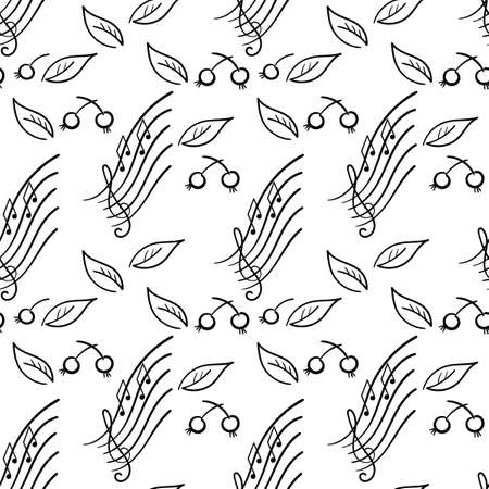 Doodle Seamless for a music concert or festival. Nature and music. Leaves berries twigs, musical signs. Backdrop for a Wallpaper, cover. Hand-drawn vector illustration.