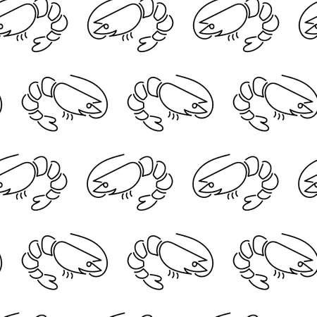 Shrimp seamless pattern on pink background. Sea Food Concept. Vector illustration,