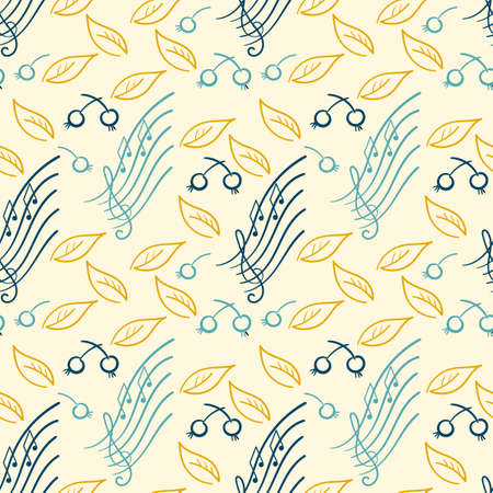 Doodle Seamless pattern for a music concert or festival. Nature and music. Leaves berries twigs, musical signs. Backdrop for a Wallpaper, cover. Hand-drawn vector illustration.