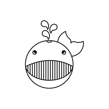 Cute little whale on a white background. Vector illustration for children. Black and white.