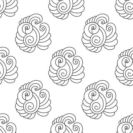 Seamless pattern with black and white Fantastic flowers. Decorative element of floral nature. Hand-drawn vector illustration for fabric, backdrop, and more,