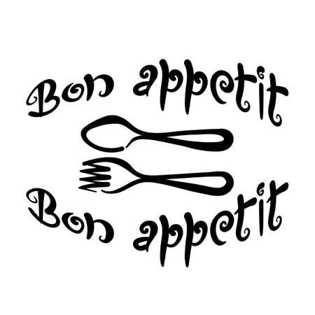 Bon appetit, handwritten phrase. Framing of Cutlery. Black lettering on a white background. Vector illustration, calligraphy