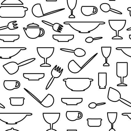 Cooking Seamless pattern. Contour Cutlery Background. line art . Kitchen utensils. Vector illustration