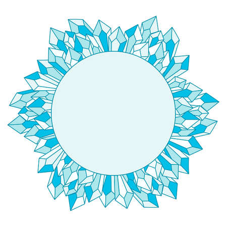 Blue ice crystals. Round Frame for text. Greeting card. Vector illustration