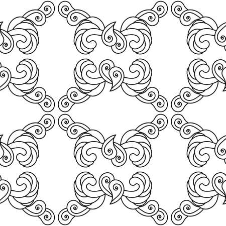 Hand drawn seamless pattern with tribal ornament. Petals, Paisley, and other elements. Black and white ornate grid Ilustração Vetorial
