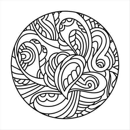 Decorative round pattern, Mehndi style. Doodle hand drawn pages of coloring books, anti-stress for children and adults. Vector illustration.