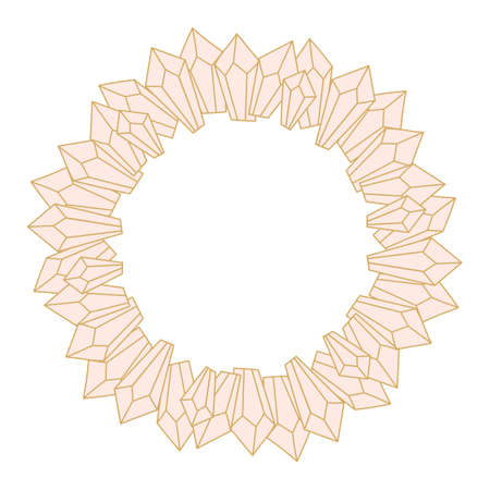 Pink Crystals on a white background. Round Frame for text. Greeting card. Vector illustration, Illusztráció
