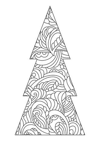 Coloring Page, Decorated Christmas tree. Hand drawn Vector black and white illustration on a white background.
