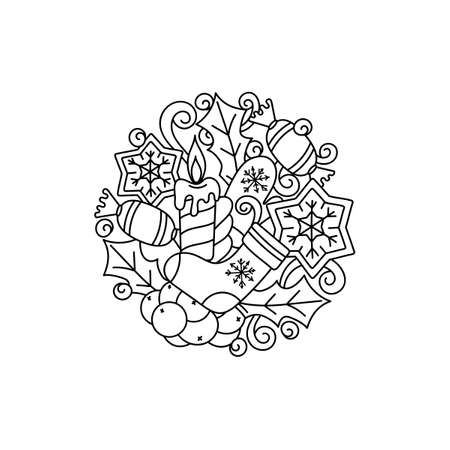 Christmas Doodle coloring book for adults and children. Hand-drawn circular sketch with holiday-themed items. Merry Christmas vector composition.