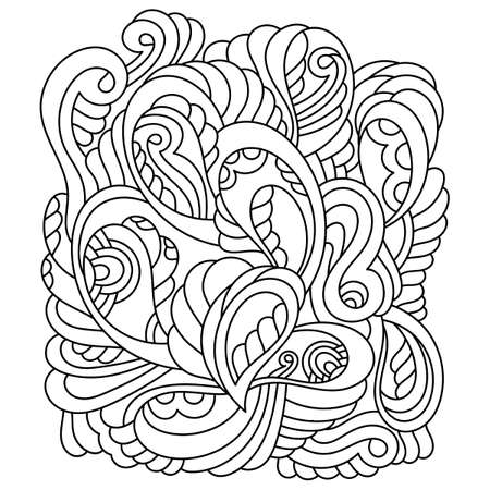 Doodle flower pattern in black and white. A coloring page, a relaxing activity for children and adults. An abstract pattern with Paisley and other elements, and freehand drawing. Vector illustration