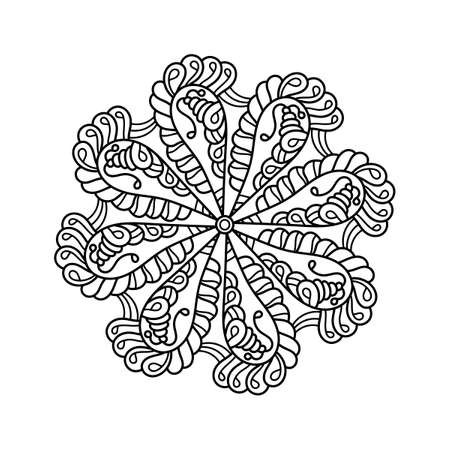 Circular pattern in form of mandala, decorative ornament in ethnic oriental style. Doodle flower pattern in black and white. Coloring book page. Иллюстрация