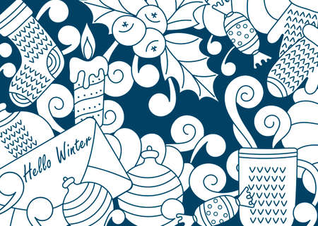 Hand drawn Doodle illustration of a horizontal banner. Christmas and New year elements. Festive cartoon background. holly jolly text.
