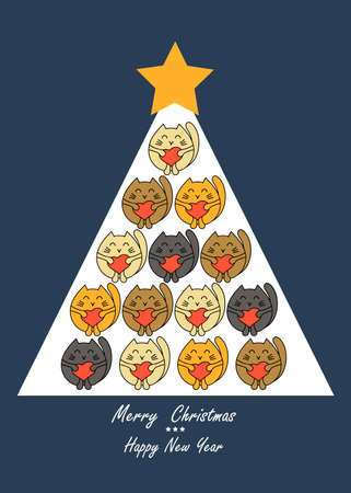 Christmas tree with cute kittens. Vector greeting card, poster, flyer for pet stores, veterinary clinics,