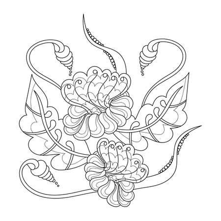 A page of a Coloring book, fantastic flowers, curving branches and leaves. Hand-drawn outline drawing. Black and white vector illustration.
