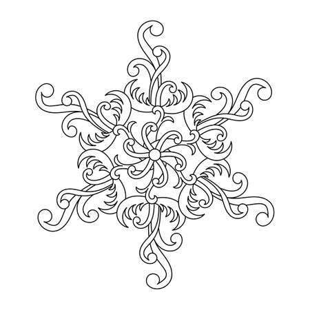 Coloring book, mandala, fantastic flower or snowflake for adults and older children. Richly decorated hand-drawn vector illustration. Vector.