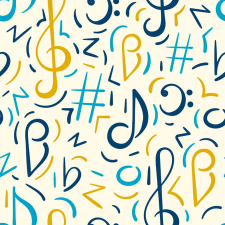Seamless pattern. Doodle vector background, music concert festival. Musical note, treble clef.