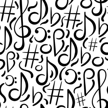 Hand drawn Seamless pattern. Music concert festival doodle vector background. Musical note, treble clef. 일러스트