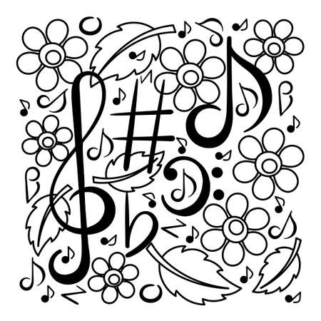 Musical symbols musical notes, treble clef, flowers leaves. Music concert festival. Hand drawn vector illustration.