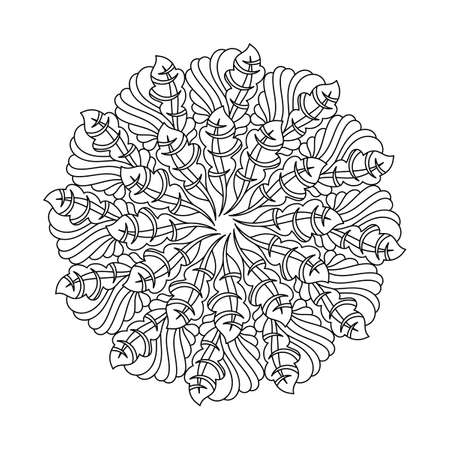 Coloring book, mandala, abstract pattern. For adults and older children. Ornate hand-drawn vector illustration.