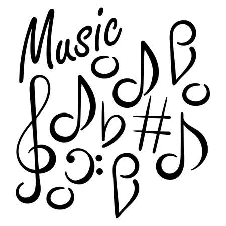 Musical signs. Concert festival doodle . Musical notes, treble clef, bass clef. 일러스트