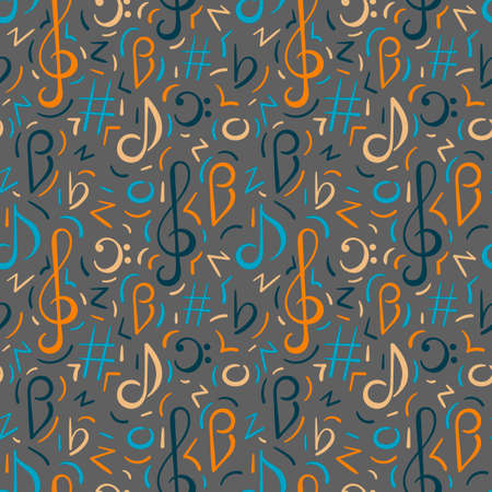 Seamless pattern. Doodle vector background, music concert festival. Hand drawn Musical note, treble clef. 일러스트