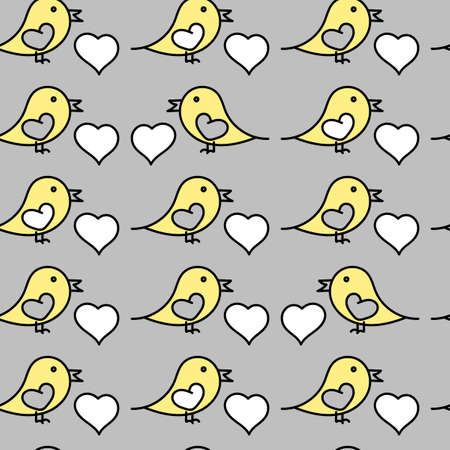 Seamless pattern. Romantic doodle background. Small cute Birds and hearts. Black white yellow grey