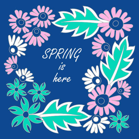 Spring is here. Doodle hand drawing Background. Flowers, leaves. Vector illustration on blue