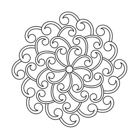Coloring book, mandala, abstract elements, flower pattern. For adults and older children. Ornate hand-drawn vector illustration.