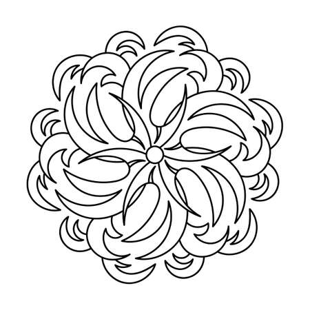 Coloring book, mandala, abstract elements, flower pattern. For adults and older children. Ornate hand-drawn vector illustration,