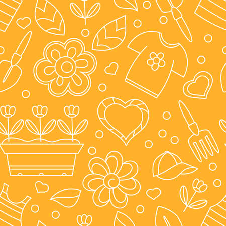 Seamless pattern with summer clothes, garden tools and flower seedlings in the box