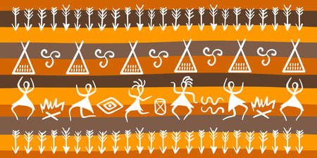 Traditional rituals of ancient tribes and symbols. Dances of ancient people around the fire, dwellings, arrows. Vector hand-drawn illustration, border.