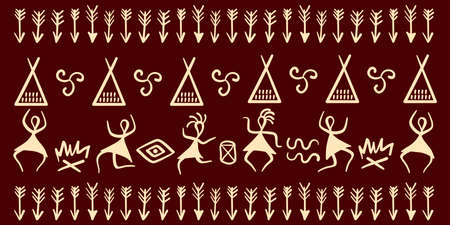 Traditional Native American symbols. Primitive figures of ancient tribes. Traditional rituals around the fire. Vector border. Ilustración de vector