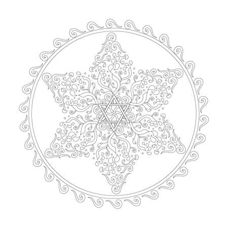 Coloring book Jewish star of David. Paisley and plant ornaments. Anti-stress therapy art. Hand drawn Vector illustration