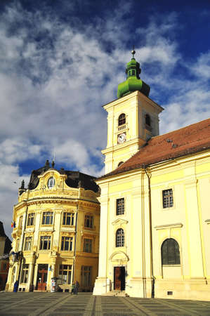 arhitecture: Sibiu - City hall and catholic church historical arhitecture