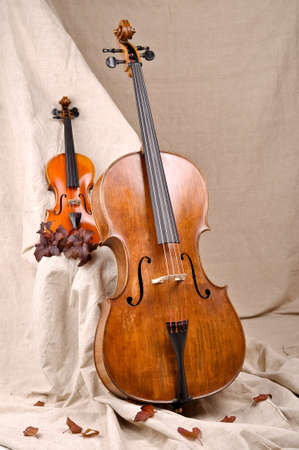 Violin and cello on the beige background Stock Photo - 18048602