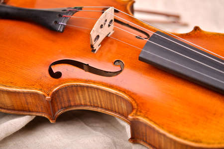 Fragment of violin isolated on beige background Stock Photo
