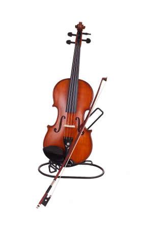 fiddlestick: Viol�n y un arco de viol�n en el fondo blanco