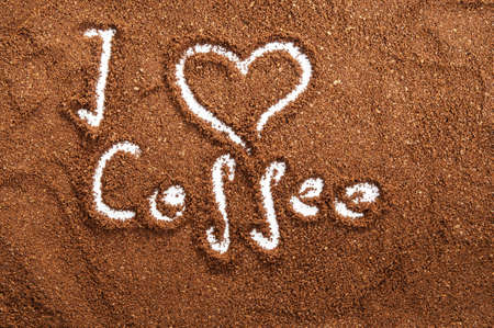 I love coffee. Shapes made in ground coffee