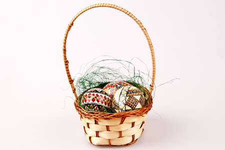 painted easter eggs in basket Stock Photo - 18705925