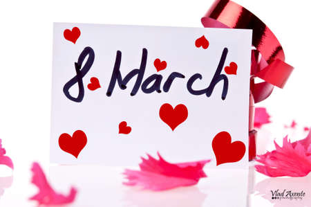 March 8 Card and red ribbon