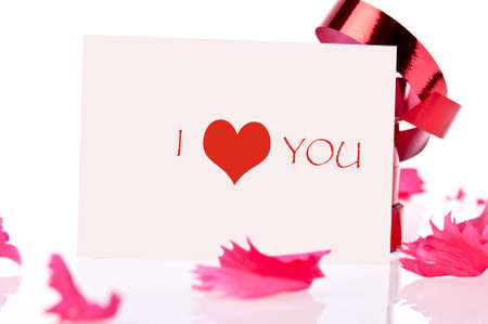 I love you  red ribbon and pink card photo