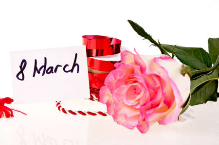 pink rose and ribbon - march 8 Stock Photo