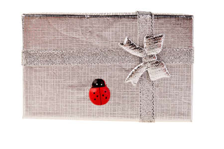 silvery: Silvery gift box with ladybug