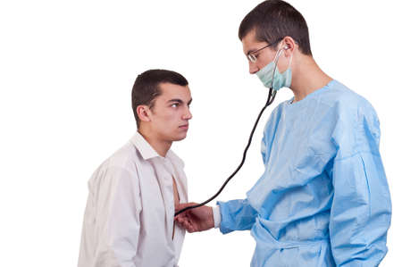 prognostic: Doctor examine a young man patient with stethoscope