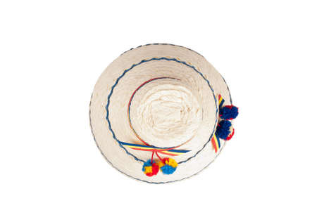 top of an traditional Romanian hat made of straws, isolated against a white background photo